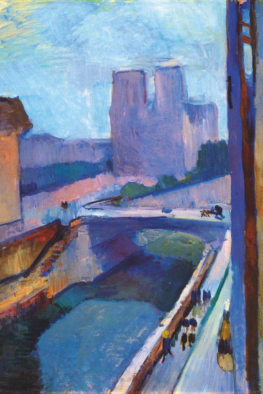 Letmý pohled na Notre-Dame v pozdním odpoledni, 1902, olej na papíře nalepeném na plátně, 72 × 55 cm, Albright-Knox Art Gallery, Buffalo. (obr. 2)