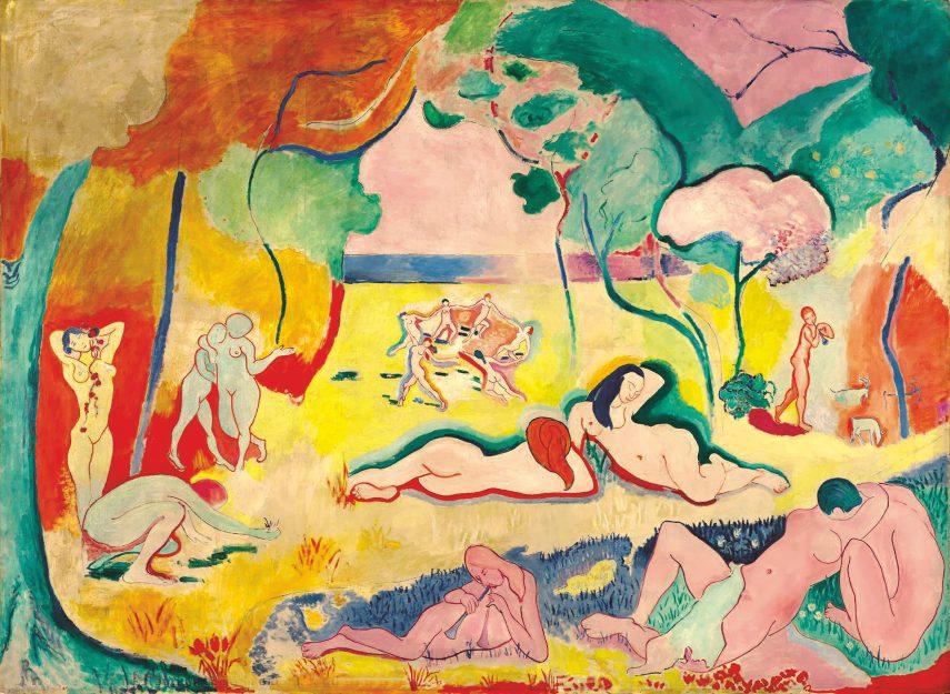 Radosti života, 1905/6, olej na plátně, 174 × 238 cm, The Barnes Foundation, Merion. (obr. 6)