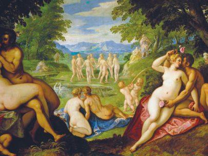 Paolo Fiammingo: Láska ve zlatém věku, mezi lety 1585 a 1589, olej na desce, 159 × 257,5 cm, Kunsthistorisches Museum, Vídeň. (obr. 7)