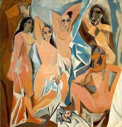 Pablo Picasso: Avignonské slečny, 1907, olej na plátně, 244 × 234 cm, MoMA, New York. (obr. 9)