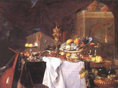 Jan Davidsz. de Heem: Tabule s dezerty, 1640, olej na plátně, 149 × 203 cm, Louvre, Paříž. (obr. 15)