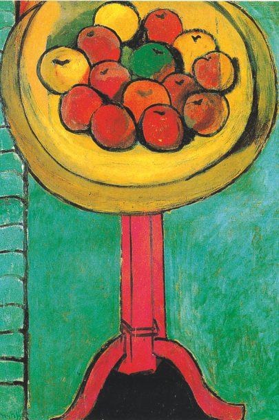 Jablka na stole proti zelenému pozadí, 1916, olej na plátně, 115 × 90 cm, The Chrysler Museum, Norfolk. (obr. 16)
