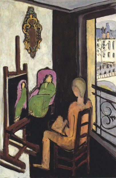 Malíř ve svém ateliéru, 1916, olej na plátně, 146,5 × 97 cm, Centre Pompidou, Paříž. (obr. 18)