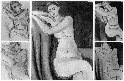 Pět zaznamenaných fází Matissova Sedícího růžového aktu, 1935. (obr. 21)