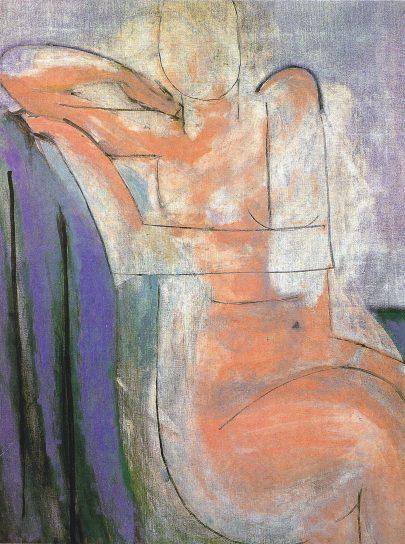 Sedící růžový akt, 1935, olej na plátně, 92 × 73 cm, soukromá sbírka. (obr. 22)