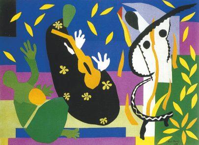 Smutek krále, 1952, kvaš, lepený papír, 292 × 396 cm, Centre Pompidou. (obr. 25)