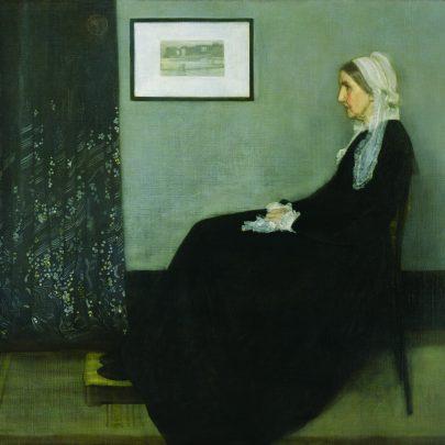 Aranžmá v šedé a černé č. 1: Portrét umělcovy matky, 1871, olej na plátně, 144 x 162,5 cm, Musér d'Orsay, Paříž. (obr. 9)