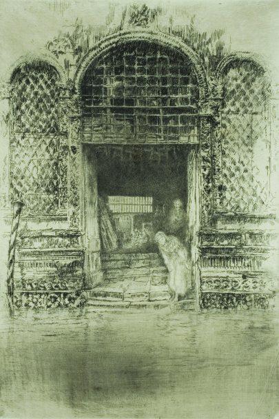 Benátský soubor - Dveře, 1879/1880, lept, suchá jehla, 29,5 x 20,4 cm, Hunterian Art Gallery, Glasgow. (obr. 11)