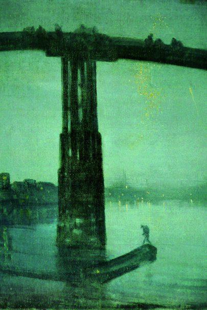 Nokturno v blankytné a zlaté: Starý most v Battersea, mezi lety 1872-1875, olej na plátně, 68 x 51 cm, Tate Gallery, Londýn. (obr. 1)