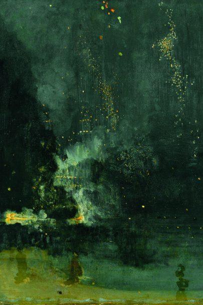 Nokturno v černé a zlaté: Padající raketa, mezi lety 1872 a 1877, olej na plátně, 60,3 x 46,6 cm, Institute of Arts, Detroit. (obr. 10)