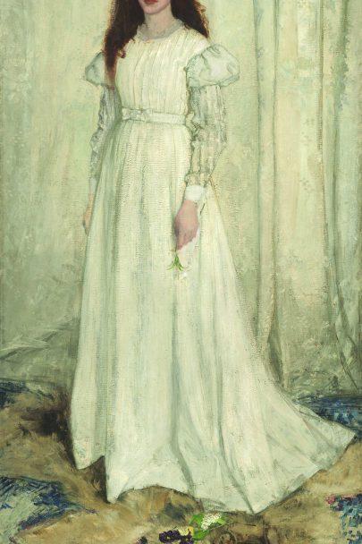 Symfonie v bílé č. 1: Dívka v bílém, 1861/1862, olej na plátně, 215 x 108 cm, National Gallery of Art, Washington. (obr. 4)
