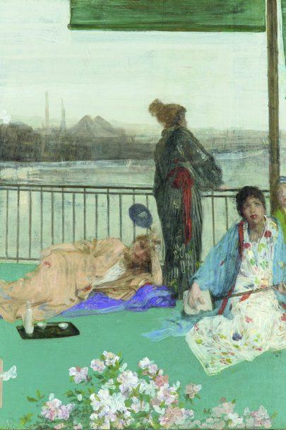 Variace v pleťové a zelené: Balkón, 1864-1873, olej na dřevě, 61 x 49 cm, Freer Gallery of Art, Washington. (obr. 6)