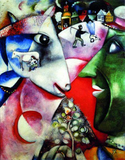 III. Já a vesnice, 1911, olej na plátně, 192 × 151 cm, The Museum of Modern Art, New York. Repro: Marc Chagall (2008), s. 51.