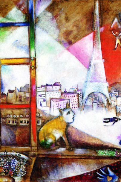 V. Pohled z okna na Paříž, 1913, olej na plátně, 136 × 141 cm, The Solomon R. Guggenheim Museum, New York. Repro: Marc Chagall (2008), s. 32.