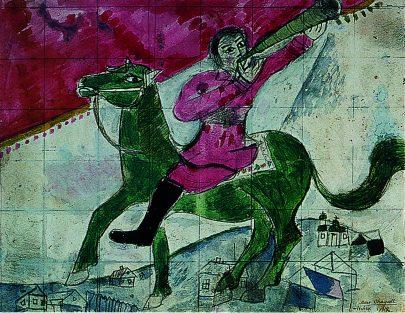 VII. Troubící jezdec, 1918, akvatinta, tužka a kvaš na papíře, 23 × 30 cm, soukromá sbírka. Repro: Marc Chagall (2008), s. 100.