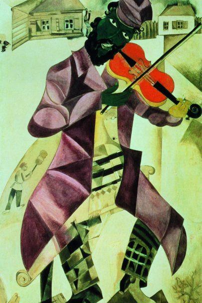 VIII. Hudba (Židovské divadlo), 1920, tempera a kvaš, 213 × 104 cm, Treťjakovská galerie, Moskva. Repro: Marc Chagall (2008), s. 108.