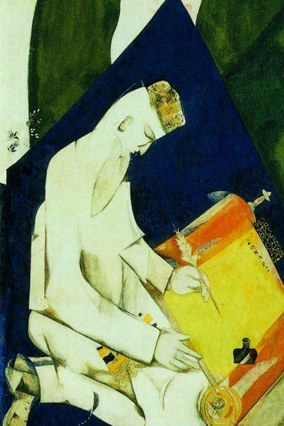 IX. Literatura (Židovské divadlo), 1920, tempera a kvaš, 216 × 81 cm, Treťjakovská galerie, Moskva. Repro: Marc Chagall (2008), s. 108.