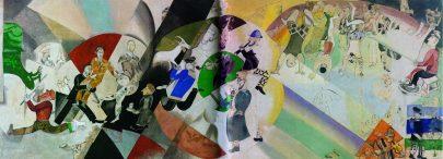 X. Úvodní scéna k Židovskému divadlu, 1920, tempera a kvaš, 248 × 787 cm, Treťjakovská galerie, Moskva. Repro: https://www.russianartandculture.com.