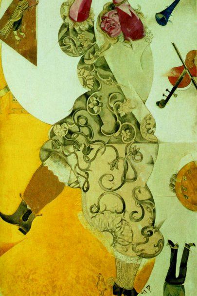 XI. Tanec (Židovské divadlo), 1920, tempera a kvaš, 214 × 108,5 cm, Treťjakovská galerie, Moskva. Repro: Marc Chagall (2008), s. 109.