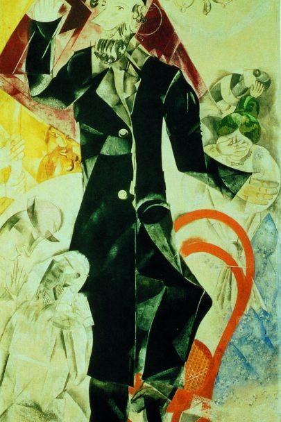 XII. Drama (Židovské divadlo), 1920, tempera a kvaš, 212,5 × 107 cm, Treťjakovská galerie, Moskva. Repro: Marc Chagall (2008), s. 109.