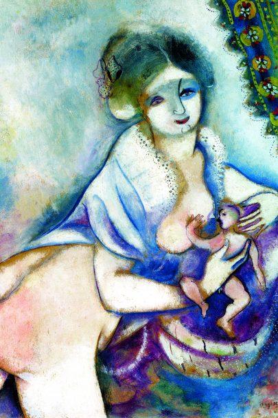 XIII. Mateřství, 1914, olej na papíře, 50 × 38 cm, Albertina, Vídeň. Repro: Chagall to Malevich (2016), Albertina, Wien, s. 147.