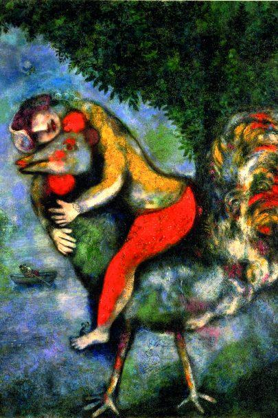 XIV. Kohout, 1929, olej na plátně, 81 × 65 cm, Fundación Colección Thyssen-Bornemisza, Barcelona. Repro: Marc Chagall (2008), s. 127.