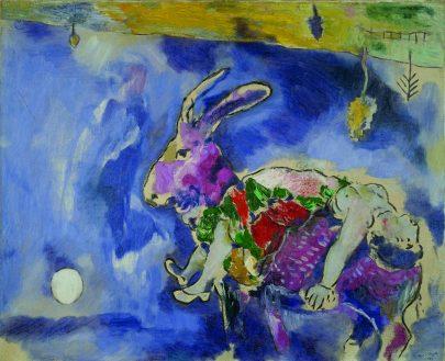 XV. Sen (Králík), 1927, olej na plátně, 81 × 100 cm, Musée d'Art Moderne de la Ville de Paris, Paříž. Repro: Marc Chagall (1987), s. 52.