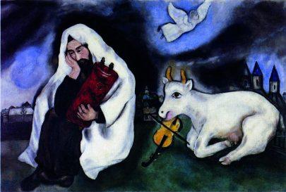 XVI. Odloučení, 1933/1934, olej na plátně, 96 × 158 cm, Muzeum umění v Tel Avivu, Izrael. Repro: Marc Chagall (2008), s. 136.