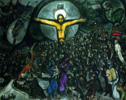 XVII. Exodus, 1952–1966, olej na plátně, 130 × 162 cm, soukromá sbírka. Repro: Marc Chagall (1994), s. 83.