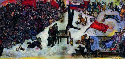 XVIII. Revoluce, 1937, olej na plátně, 20 × 100 cm, Centre Georges Pompidou, Paříž. Repro: Marc Chagall (2008), s. 144 a 145.