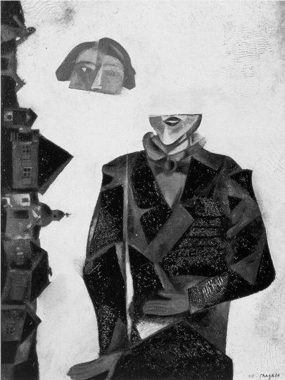 Kamkoli mimo tento svět, 1915, olej na lepence, 56 × 45 cm, soukromá sbírka. Repro: Marc Chagall (2018), s. 82. (Obr. 1)