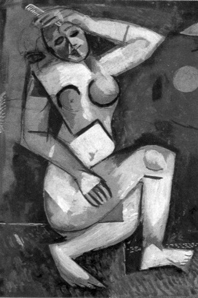 Akt s hřebenem, 1911/1912, kresba perem a kvaš, 33,5 × 23,5 cm, soukromá sbírka. Repro: Marc Chagall (1987), nečíslovaná příloha. (Obr. 2)