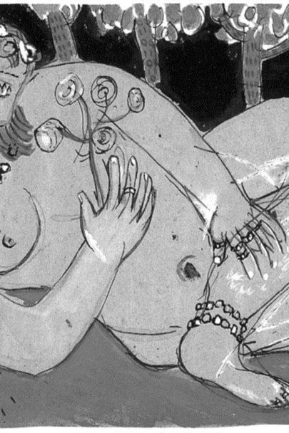 Odaliska, 1915, kresba perem a akvarel, 20 × 29 cm, Sbírka E. W. K., Bern. Repro: Marc Chagall (2008), s. 44. (Obr. 3)