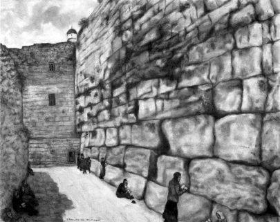 Zeď nářků, 1931, olej na plátně, 96 × 158 cm, Muzeum umění v Tel Avivu, Izrael. Repro: Marc Chagall (2008), s. 137. (Obr. 4)