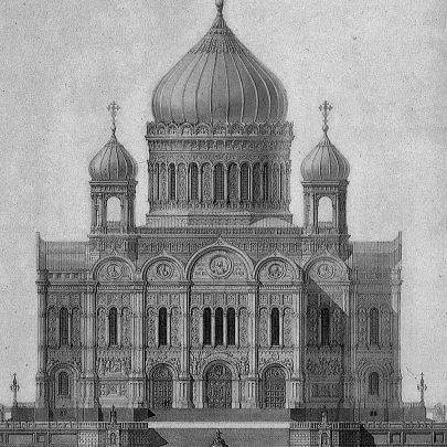 Konstantin Ton, návrh katedrály Krista Spasitele, 1832. Zdroj: Kiričenko, Chram, s. 68. (Obr. 5)