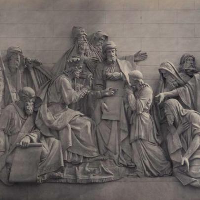 Šalamoun a David s plánem Jeruzalémského chrámu, mramorový reliéf. Zdroj: Kiričenko, Chram, s. 72–73. (Obr. 6)