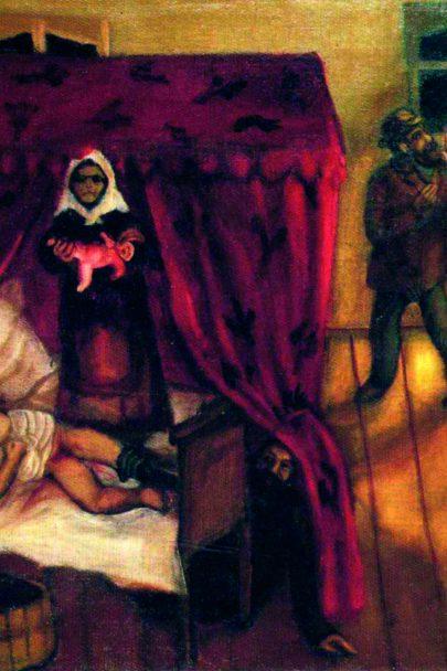II. Porod, 1910, olej na plátně, 65 × 89,5 cm, Kunsthaus Zürich, Curych, Švýcarsko. Repro: Marc Chagall (1994), s. 11.
