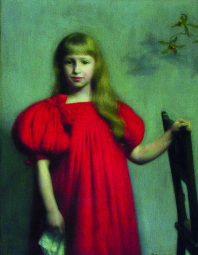 (Jozef Pankiewicz: Portrét dívky v červených šatech, 1897, Národní muzeum, Kielce.)