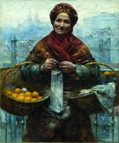 (Aleksander Gierymski: Židovská žena prodávající pomeranče, 1880/1881, Národní muzeum ve Varšavě.)