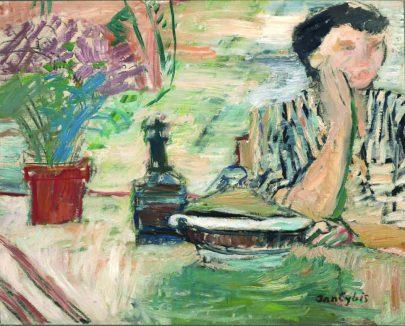 (Jan Cybis: Žena u stolu, 1957, Národní muzeum v Krakově.)