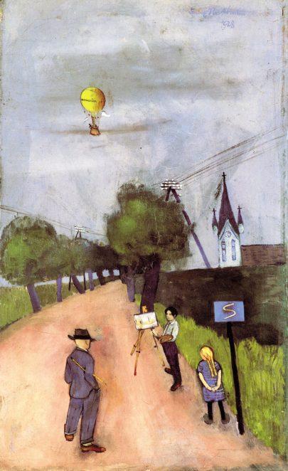 Vesnická cesta s malbou Felixe Nussbauma, 1928, olej na plátně, 71 × 42 cm, soukromá sbírka. (obr. 3)