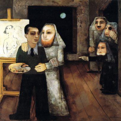 Malíř ve svém ateliéru, 1931, olej na plátně, 87 × 100 cm, soukromá sbírka. (obr. 5)
