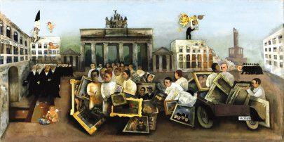 Bláznivé náměstí (Der Tolle Platz), 1931, olej na plátně, 97 × 195,5 cm, Berlinische Galerie. (obr. 6)