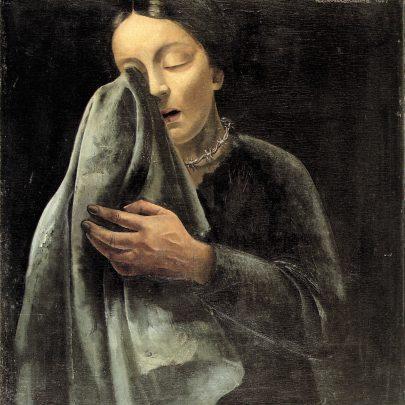 Plačící žena, 1941, olej na překližce, 52 × 48 cm, soukromá sbírka. (obr. 10)