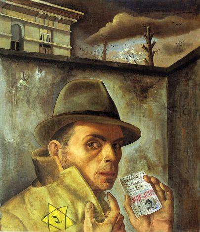 Autoportrét s židovskou legitimací, 1943, olej na plátně 56 × 49 cm, Felix-Nussbaum-Haus, Osnabrück. (obr. 15)