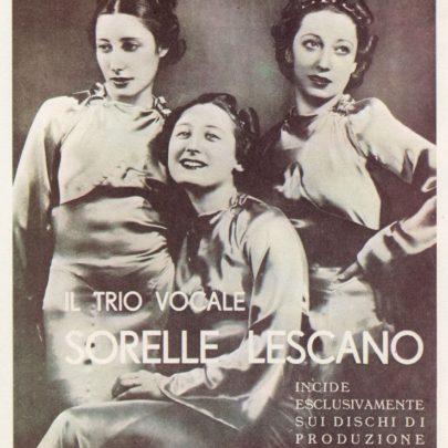 Reklamní fotografie Tria Lescano a firmy Cetra, 1939.