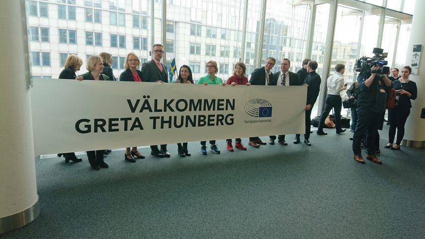 Vítání Grety Thunbergové v Evropském parlamentu, foto Ondřej Krutílek.