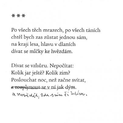 Verše opravené Jiřím Honzíkem v knižním vydání. Archiv autorky.