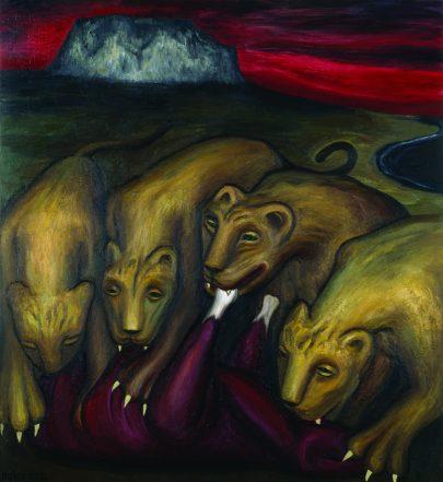 Smečka, 1997, olej na desce, 160 × 144.