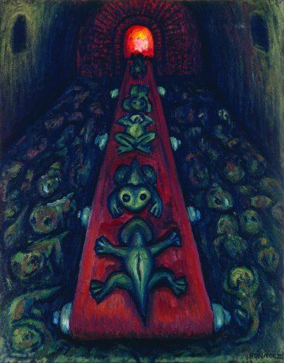 Spalovna žab, 2000, olej na plátně, 70 × 55 cm.